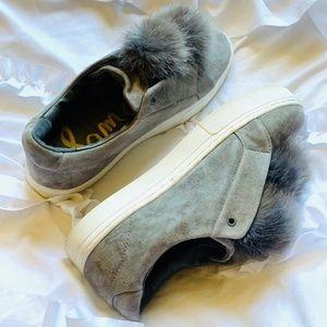 Gray pompom sneakers